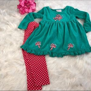 Flapdoodles 2 PC Green Velour Christmas Set